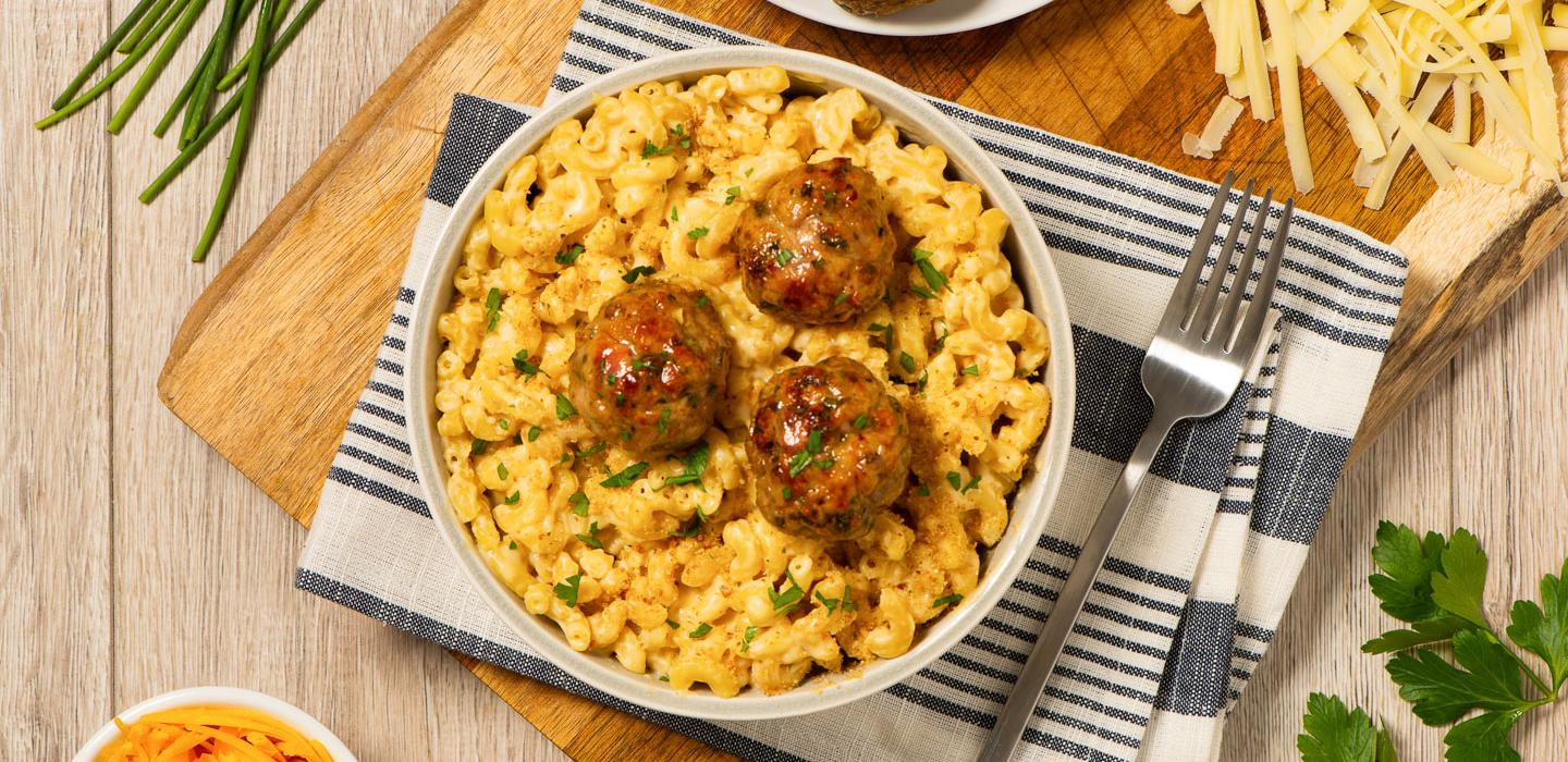 Deluxe Mac and Cheese with Ground Chicken Meatballs